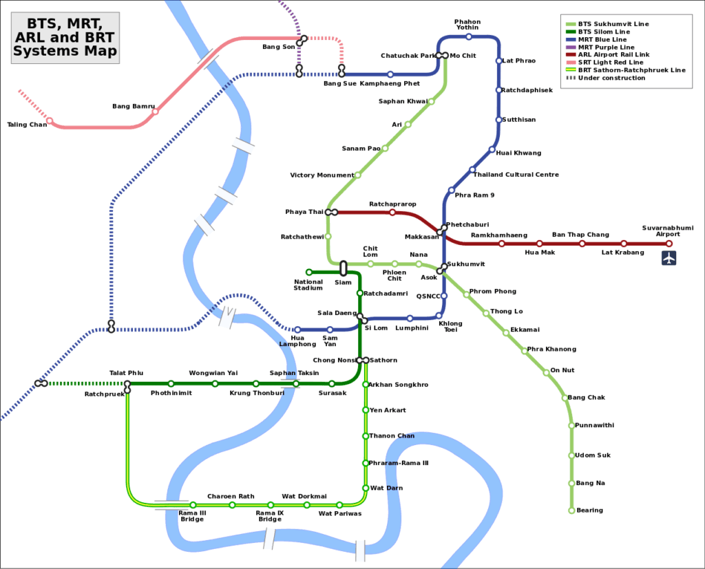 Map of Bangok BTS (Sky Train), MRT and Airport Link