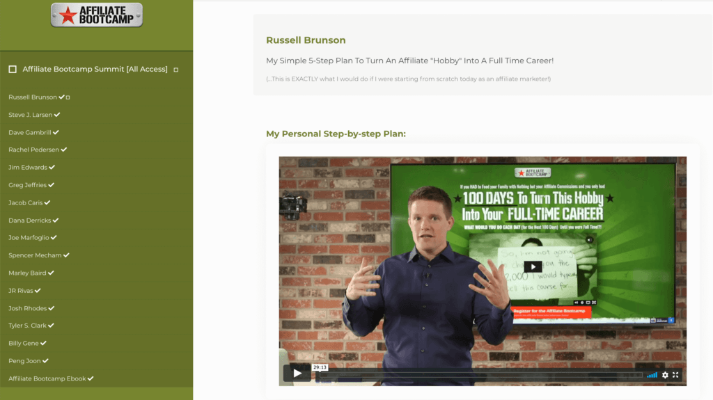Russell Brunson's training in the Affiliate Bootcamp
