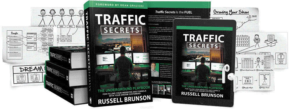 Traffic Secrets hardcover book and audiobook