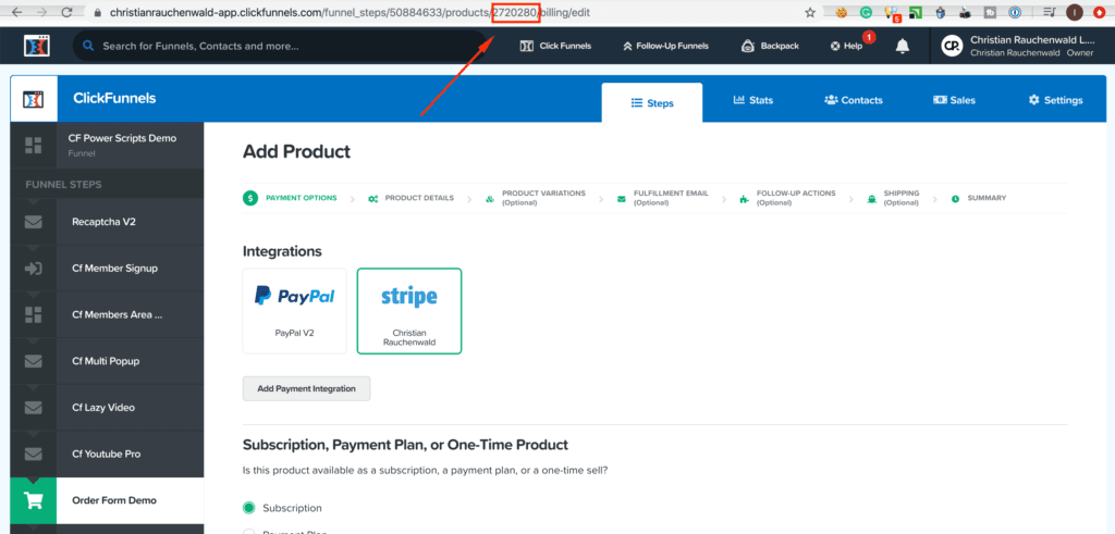 Copying product ID in Clickfunnels