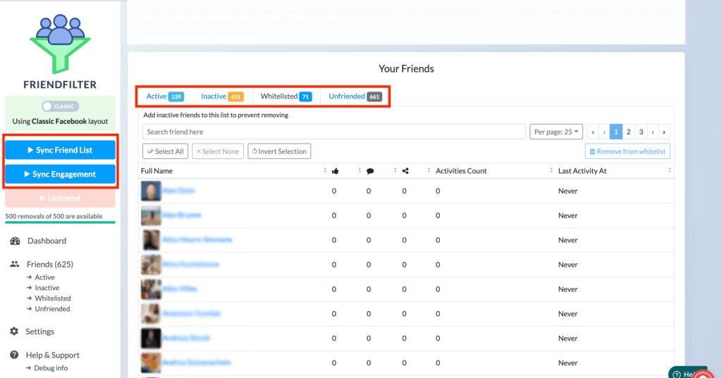 FriendFilter dashboard
