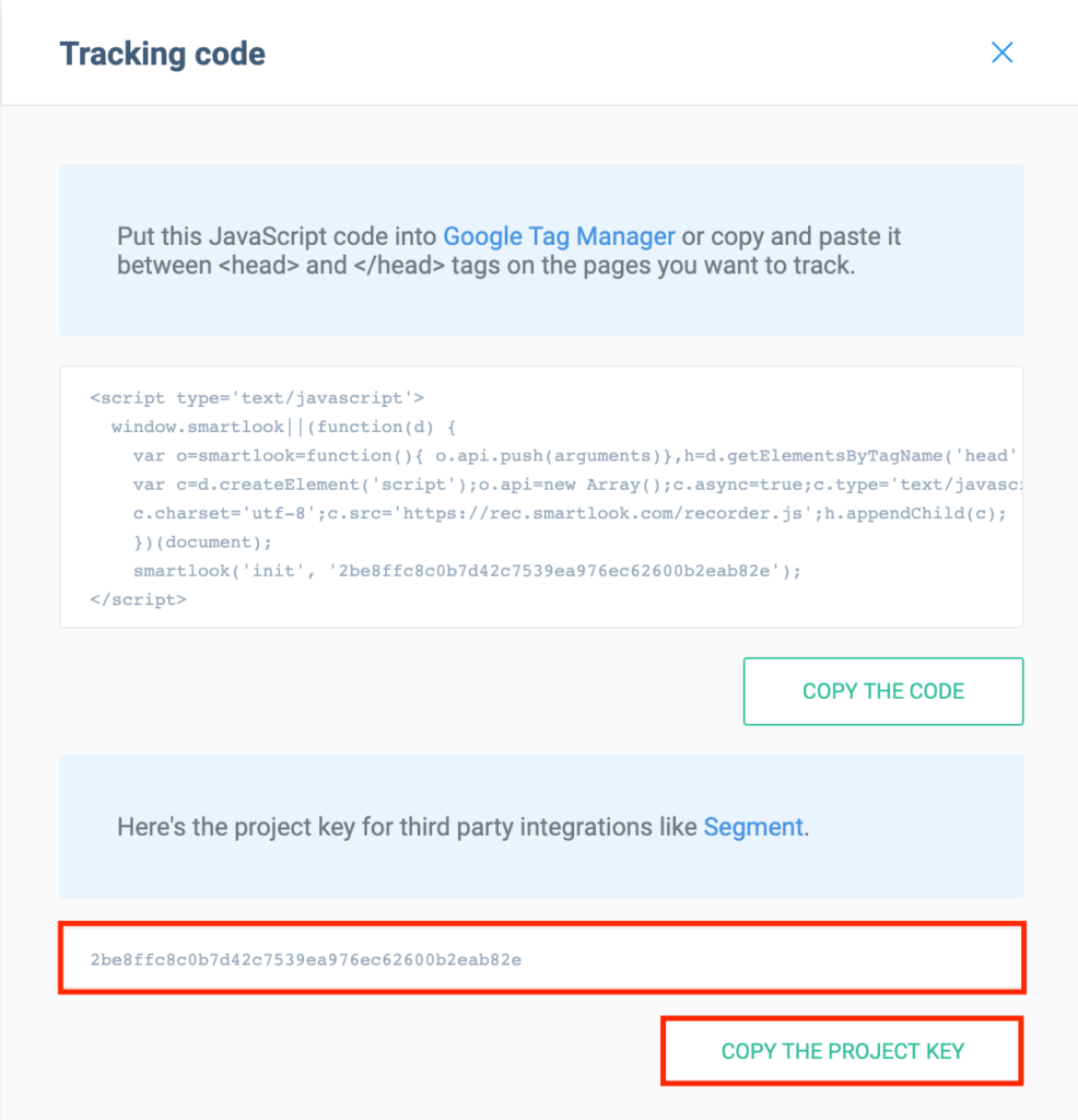Copying the SmartLook tracking code