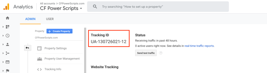 Google Analytics Tracking ID