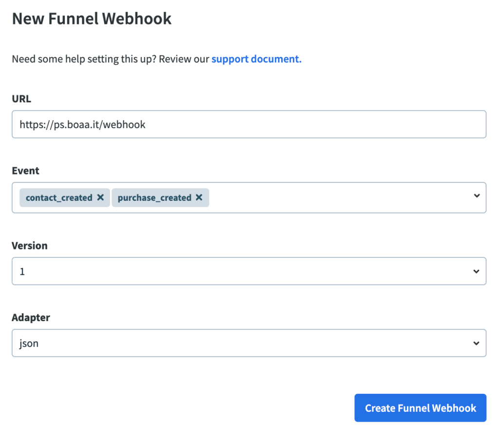 New webhook in Clickfunnels